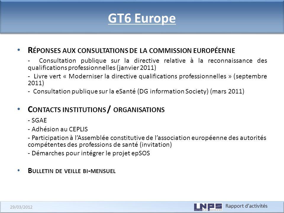 Rapport dactivités 29/03/2012 GT6 Europe R ÉPONSES AUX CONSULTATIONS DE LA COMMISSION EUROPÉENNE - Consultation publique sur la directive relative à l