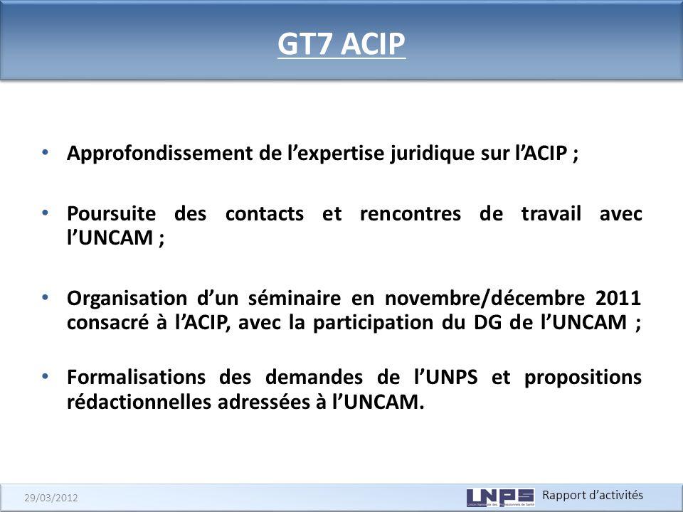 Rapport dactivités 29/03/2012 GT7 ACIP Approfondissement de lexpertise juridique sur lACIP ; Poursuite des contacts et rencontres de travail avec lUNC