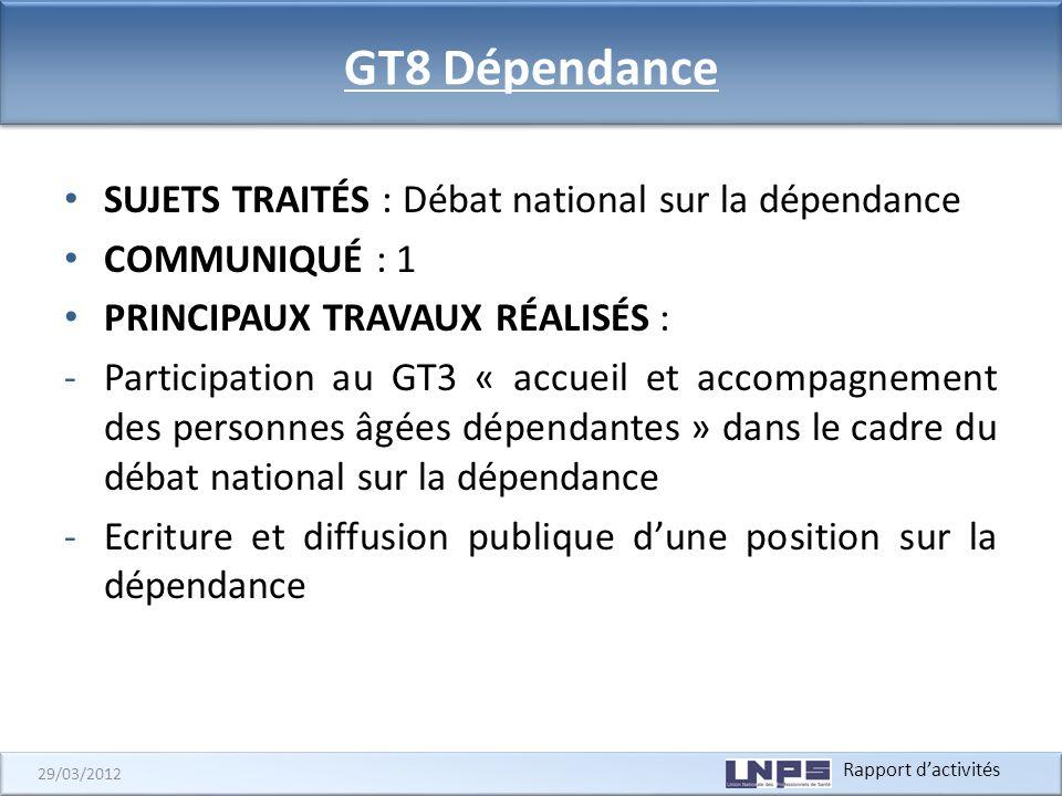 Rapport dactivités 29/03/2012 GT8 Dépendance SUJETS TRAITÉS : Débat national sur la dépendance COMMUNIQUÉ : 1 PRINCIPAUX TRAVAUX RÉALISÉS : -Participa