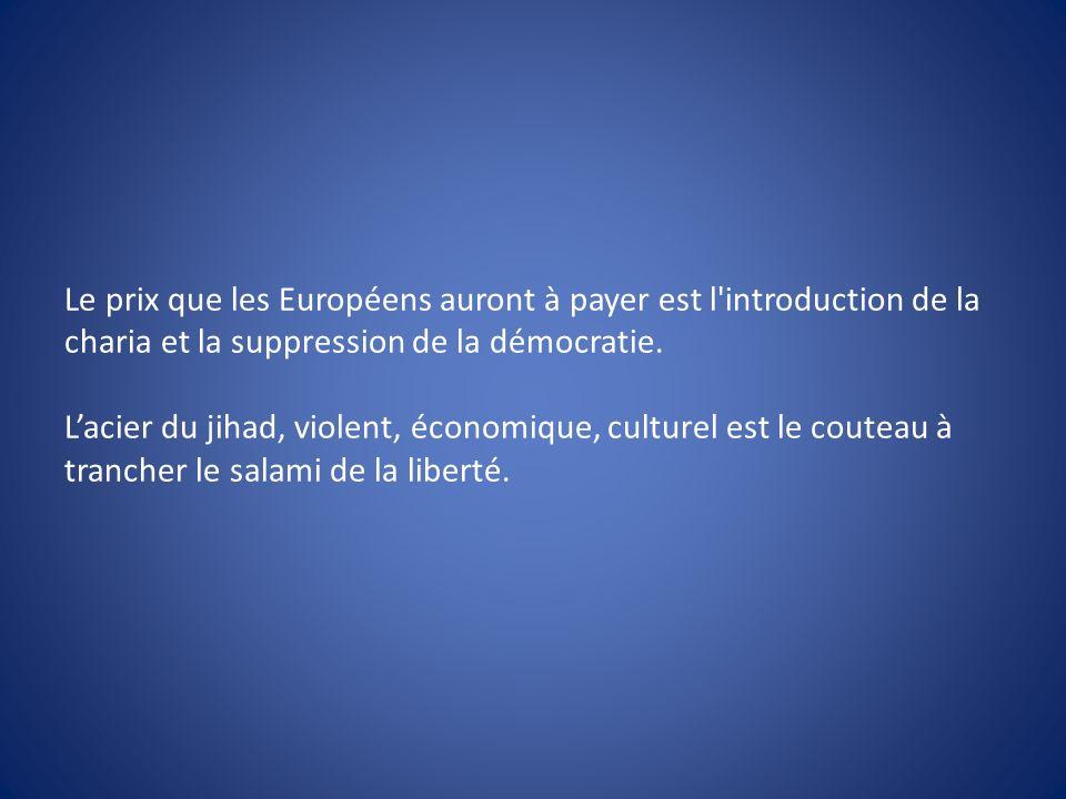 Le prix que les Européens auront à payer est l'introduction de la charia et la suppression de la démocratie. Lacier du jihad, violent, économique, cul