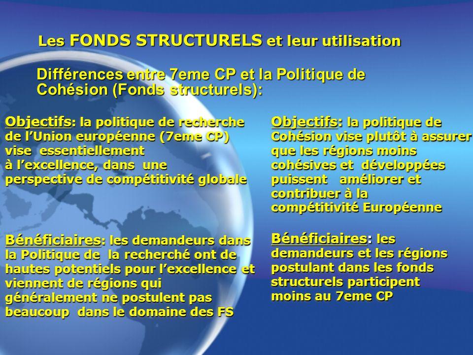 Objectifs : la politique de recherche de lUnion européenne (7eme CP) vise essentiellement à lexcellence, dans une perspective de compétitivité globale