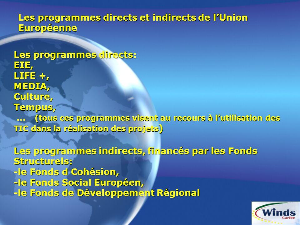 Les programmes directs et indirects de lUnion Européenne Les programmes directs: EIE, LIFE +, MEDIA, Culture, Tempus, … (tous ces programmes visent au