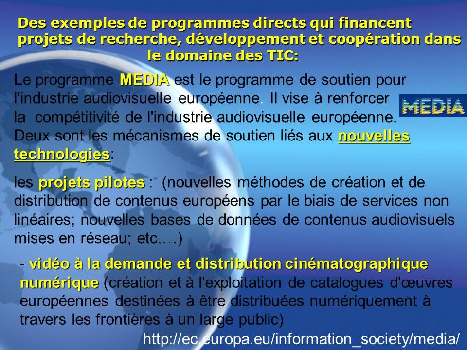 Des exemples de programmes directs qui financent projets de recherche, développement et coopération dans le domaine des TIC: MEDIA nouvelles technolog