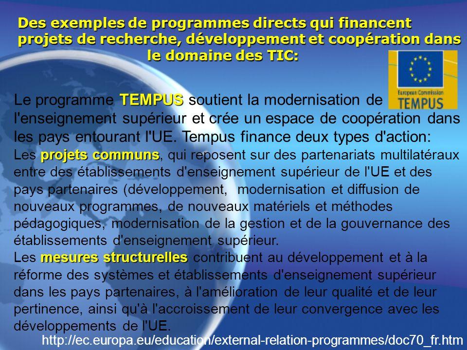 Des exemples de programmes directs qui financent projets de recherche, développement et coopération dans le domaine des TIC: TEMPUS Le programme TEMPU