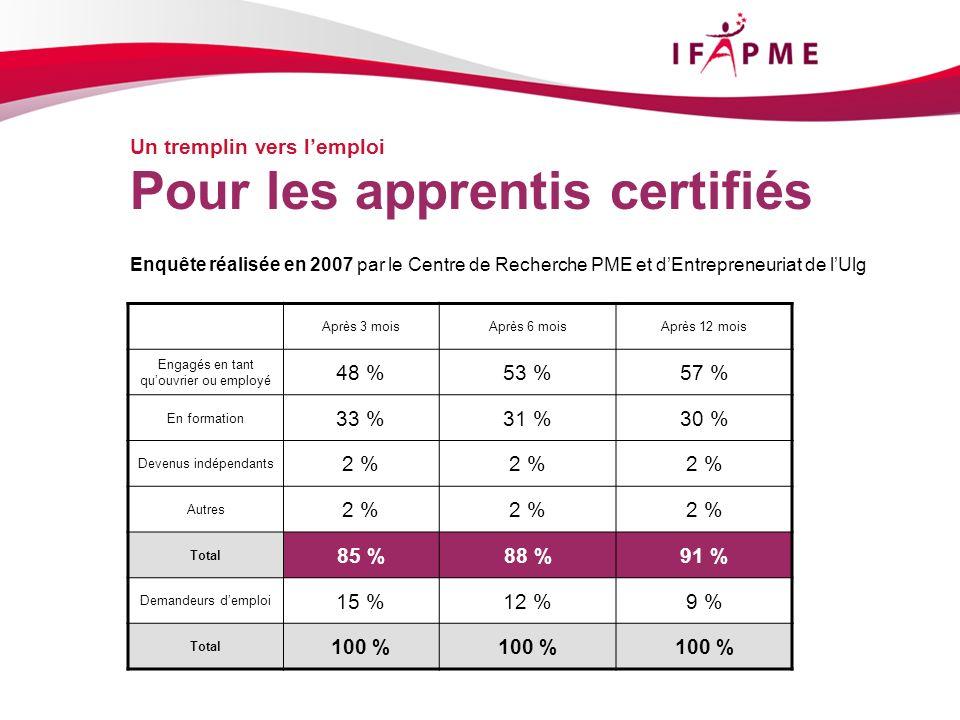 Page &p11 Un tremplin vers lemploi Pour les apprentis certifiés Enquête réalisée en 2007 par le Centre de Recherche PME et dEntrepreneuriat de lUlg Ap