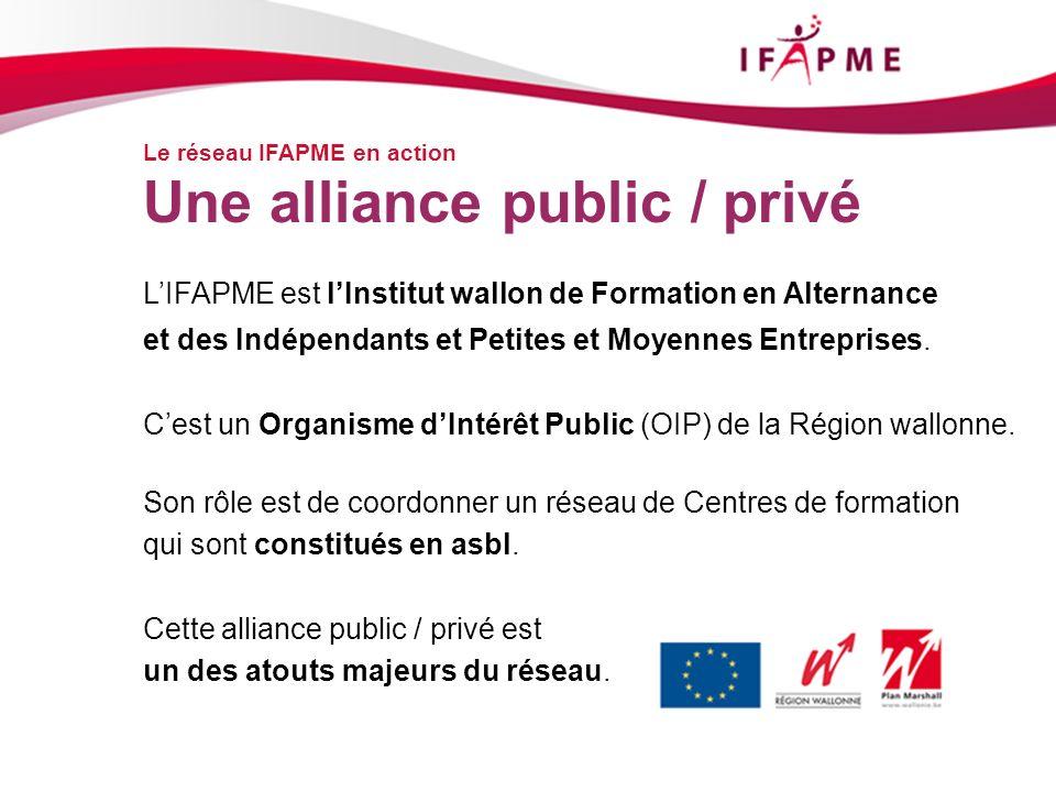 Page &p15 Le réseau IFAPME en action Une alliance public / privé LIFAPME est lInstitut wallon de Formation en Alternance et des Indépendants et Petite