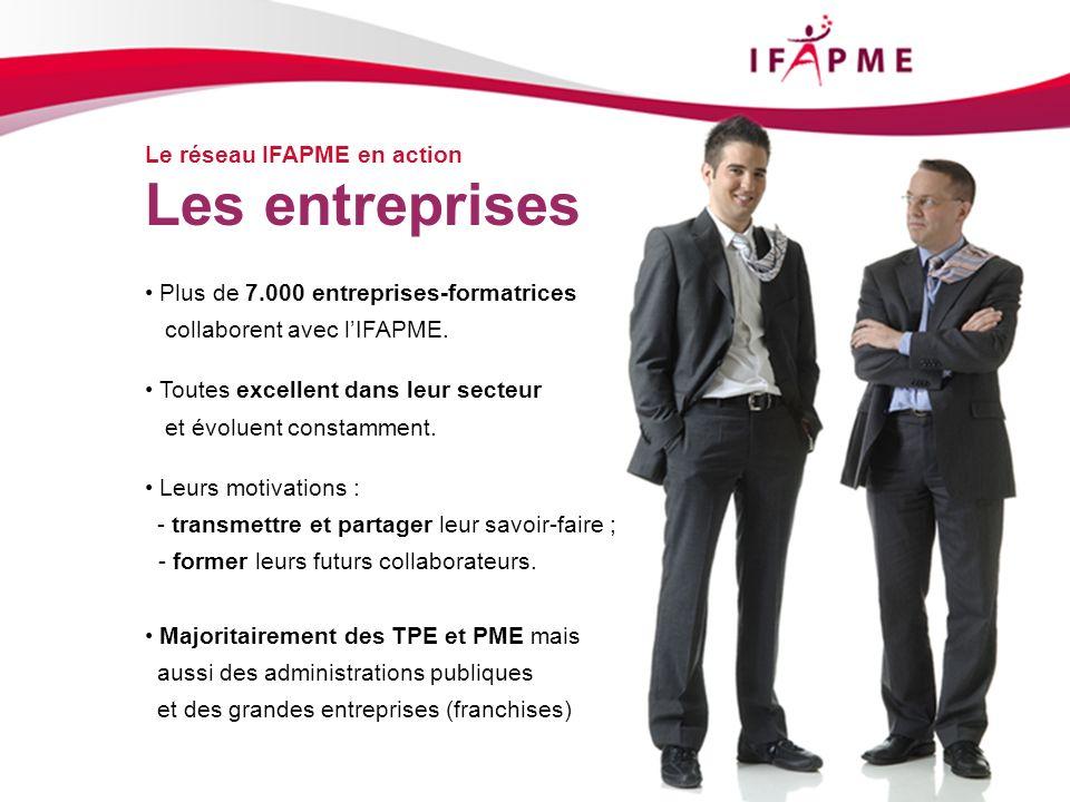 Page &p18 Le réseau IFAPME en action Les entreprises Plus de 7.000 entreprises-formatrices collaborent avec lIFAPME. Toutes excellent dans leur secteu