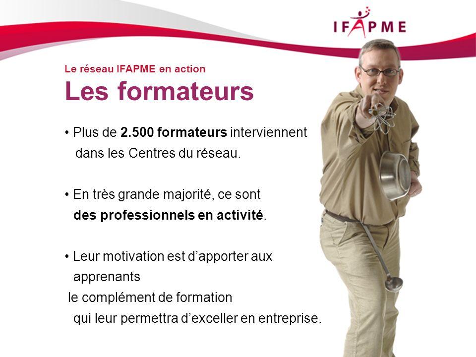 Page &p19 Le réseau IFAPME en action Les formateurs Plus de 2.500 formateurs interviennent dans les Centres du réseau. En très grande majorité, ce son