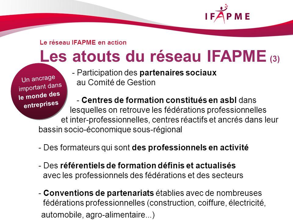 Page &p22 Le réseau IFAPME en action Les atouts du réseau IFAPME (3) - Participation des partenaires sociaux au Comité de Gestion - Centres de formati