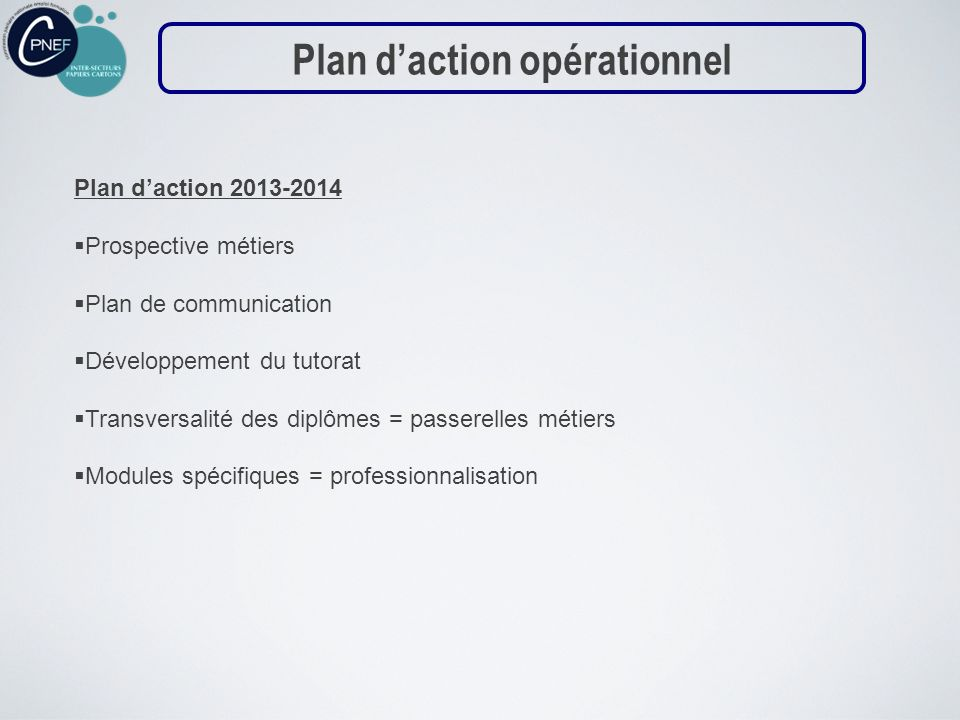 Plan daction 2013-2014 Prospective métiers Plan de communication Développement du tutorat Transversalité des diplômes = passerelles métiers Modules sp