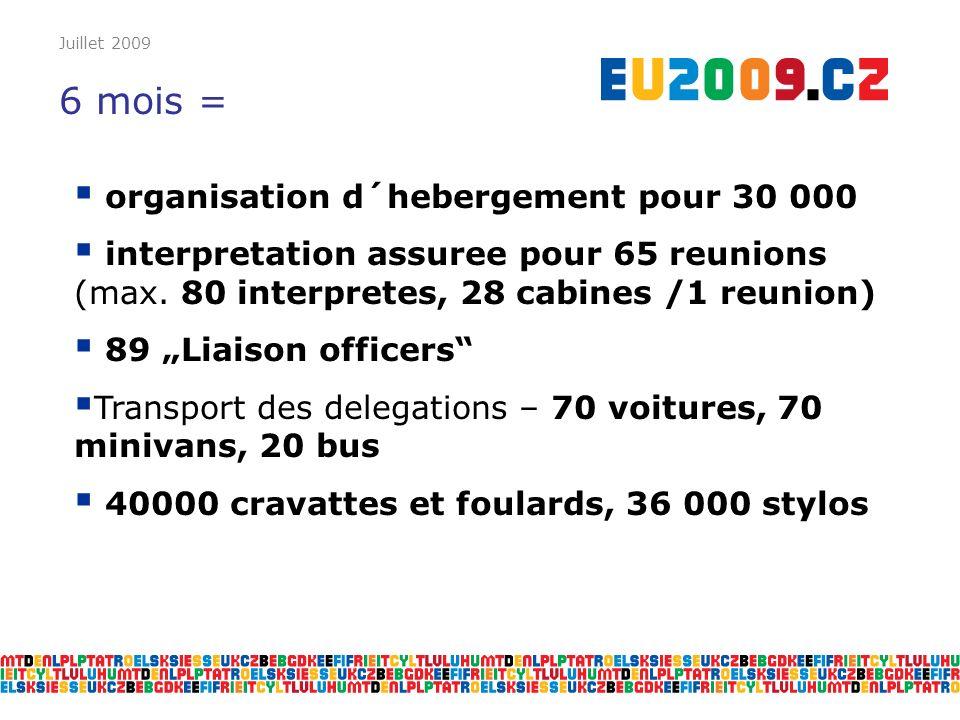 Juillet 2009 6 mois = organisation d´hebergement pour 30 000 interpretation assuree pour 65 reunions (max. 80 interpretes, 28 cabines /1 reunion) 89 L