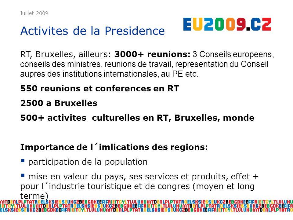 Juillet 2009 Activites de la Presidence RT, Bruxelles, ailleurs: 3000+ reunions: 3 Conseils europeens, conseils des ministres, reunions de travail, representation du Conseil aupres des institutions internationales, au PE etc.