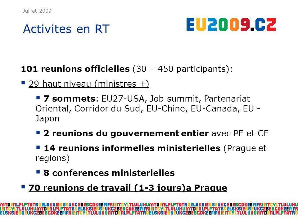 Juillet 2009 Activites en RT 101 reunions officielles (30 – 450 participants): 29 haut niveau (ministres +) 7 sommets: EU27-USA, Job summit, Partenariat Oriental, Corridor du Sud, EU-Chine, EU-Canada, EU - Japon 2 reunions du gouvernement entier avec PE et CE 14 reunions informelles ministerielles (Prague et regions) 8 conferences ministerielles 70 reunions de travail (1-3 jours)a Prague