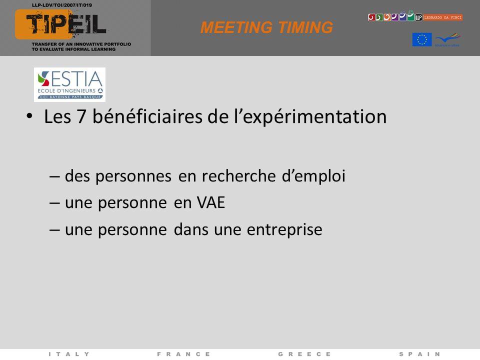 MEETING TIMING Les 7 bénéficiaires de lexpérimentation – des personnes en recherche demploi – une personne en VAE – une personne dans une entreprise