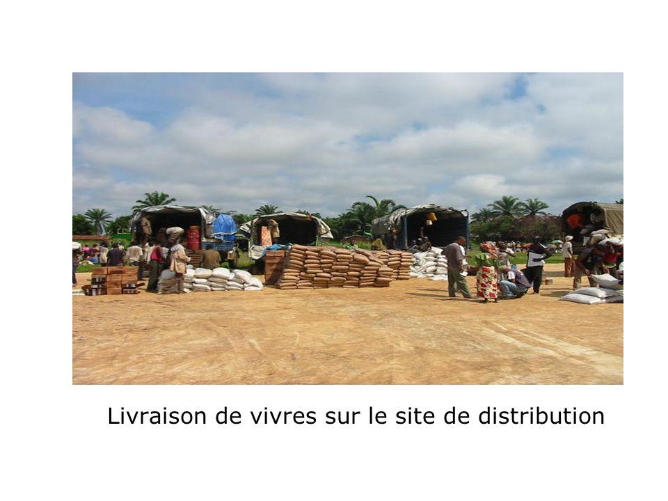 Livraison de vivres sur le site de distribution