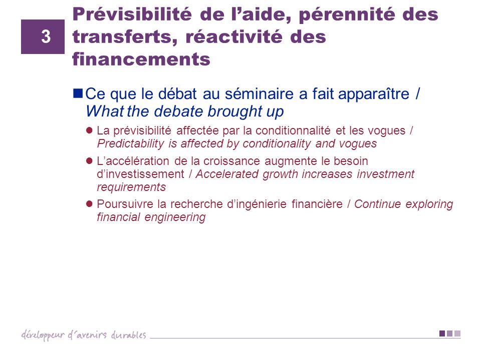 Prévisibilité de laide, pérennité des transferts, réactivité des financements Ce que le débat au séminaire a fait apparaître / What the debate brought