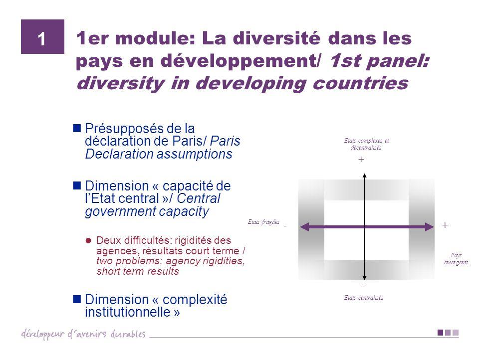 1er module: La diversité dans les pays en développement/ 1st panel: diversity in developing countries Présupposés de la déclaration de Paris/ Paris De