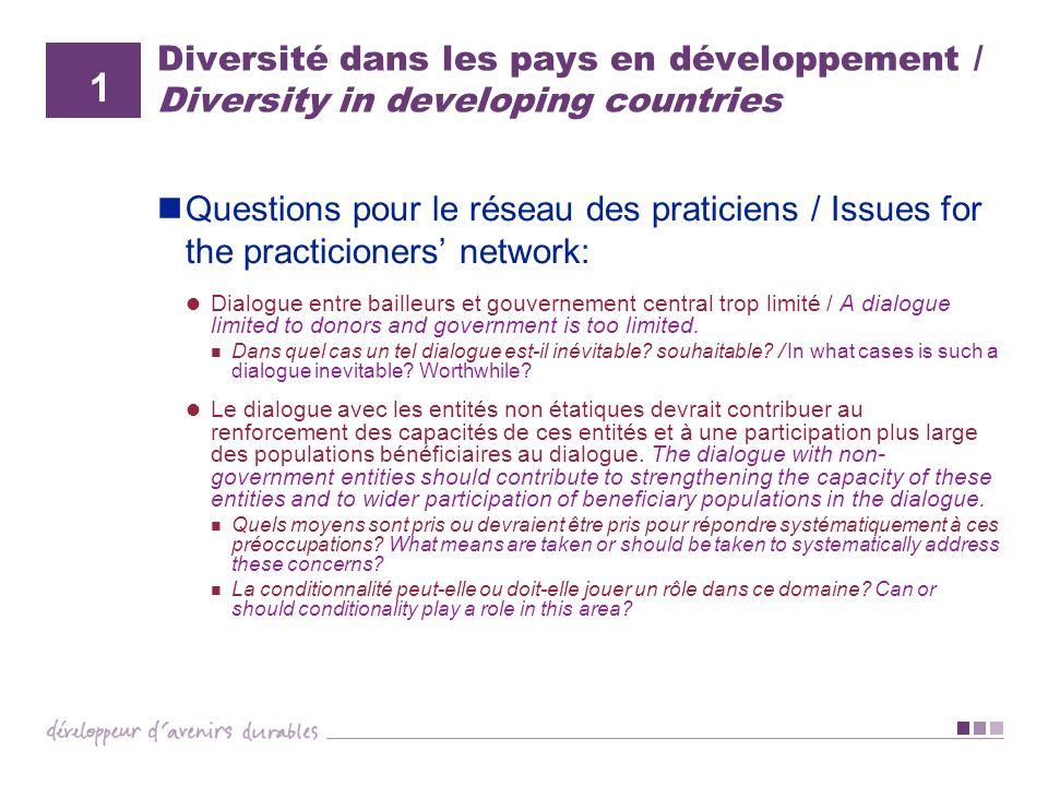 Diversité dans les pays en développement / Diversity in developing countries Questions pour le réseau des praticiens / Issues for the practicioners ne