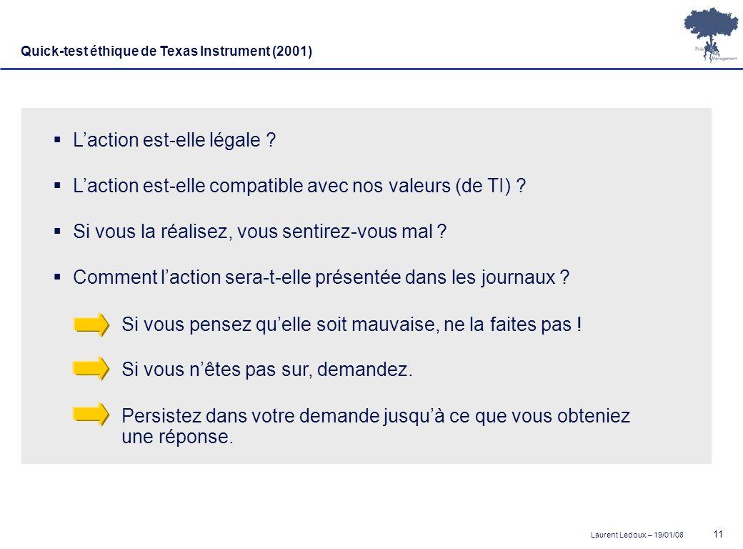 Laurent Ledoux – 19/01/08 11 Quick-test éthique de Texas Instrument (2001) Laction est-elle légale ? Laction est-elle compatible avec nos valeurs (de