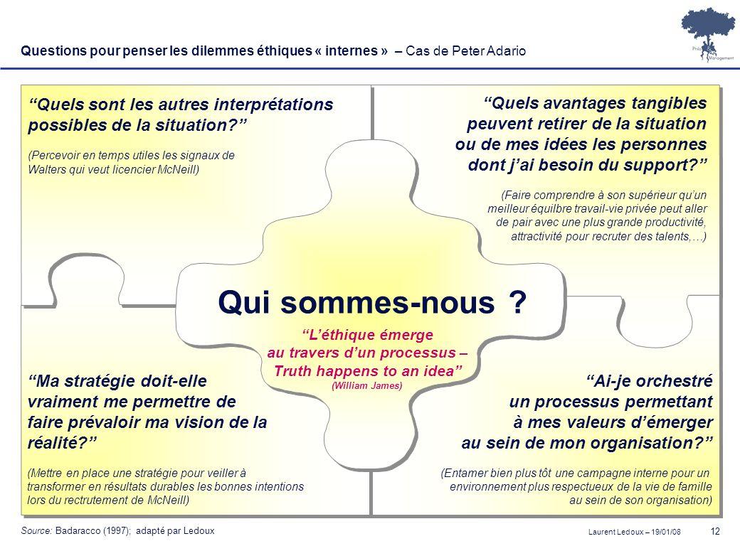 Laurent Ledoux – 19/01/08 12 Questions pour penser les dilemmes éthiques « internes » – Cas de Peter Adario Qui sommes-nous ? Quels sont les autres in