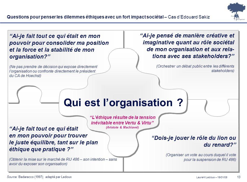 Laurent Ledoux – 19/01/08 13 Questions pour penser les dilemmes éthiques avec un fort impact sociétal – Cas dEdouard Sakiz Qui est lorganisation ? Ai-
