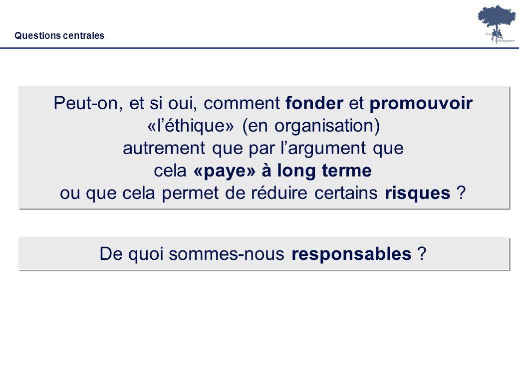 Laurent Ledoux – 19/01/08 2 Questions centrales Peut-on, et si oui, comment fonder et promouvoir «léthique» (en organisation) autrement que par largum