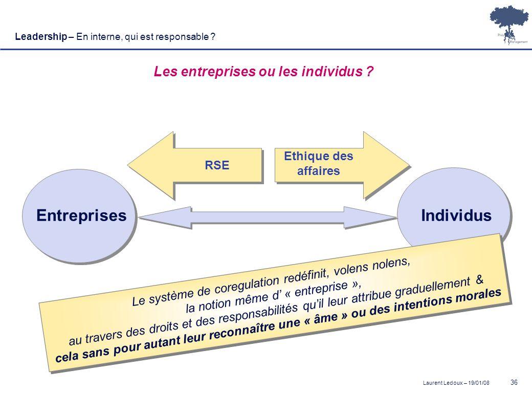 Laurent Ledoux – 19/01/08 36 Leadership – En interne, qui est responsable ? Les entreprises ou les individus ? Ethique des affaires EntreprisesIndivid