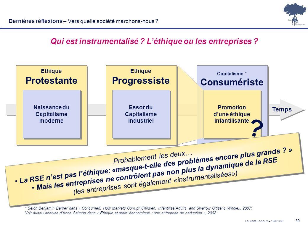 Laurent Ledoux – 19/01/08 39 Qui est instrumentalisé ? Léthique ou les entreprises ? Ethique Protestante Ethique Protestante Naissance du Capitalisme