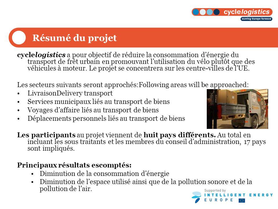Résumé du projet cyclelogistics a pour objectif de réduire la consommation dénergie du transport de frêt urbain en promouvant lutilisation du vélo plu