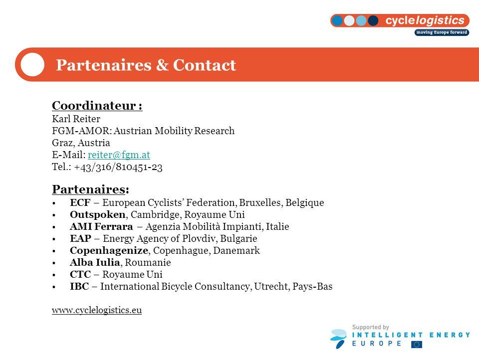 Partenaires & Contact Coordinateur : Karl Reiter FGM-AMOR: Austrian Mobility Research Graz, Austria E-Mail: reiter@fgm.atreiter@fgm.at Tel.: +43/316/8