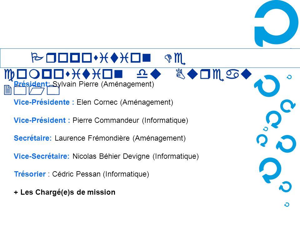Proposition De composition du Bureau 2010 Président: Sylvain Pierre (Aménagement) Vice-Présidente : Elen Cornec (Aménagement) Vice-Président : Pierre
