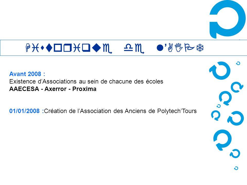 Avant 2008 : Existence dAssociations au sein de chacune des écoles AAECESA - Axerror - Proxima 01/01/2008 :Création de lAssociation des Anciens de Pol