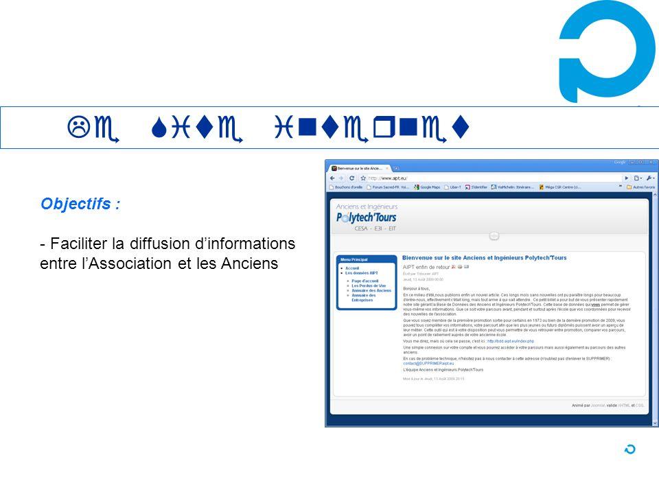 Le site Internet : www.aipt.eu Objectifs : - Faciliter la diffusion dinformations entre lAssociation et les Anciens Le Site internet