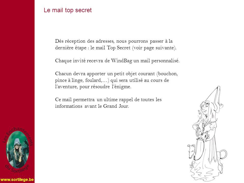 Dés réception des adresses, nous pourrons passer à la dernière étape : le mail Top Secret (voir page suivante).