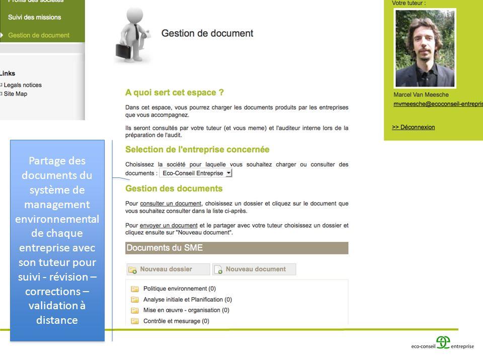 Partage des documents du système de management environnemental de chaque entreprise avec son tuteur pour suivi - révision – corrections – validation à