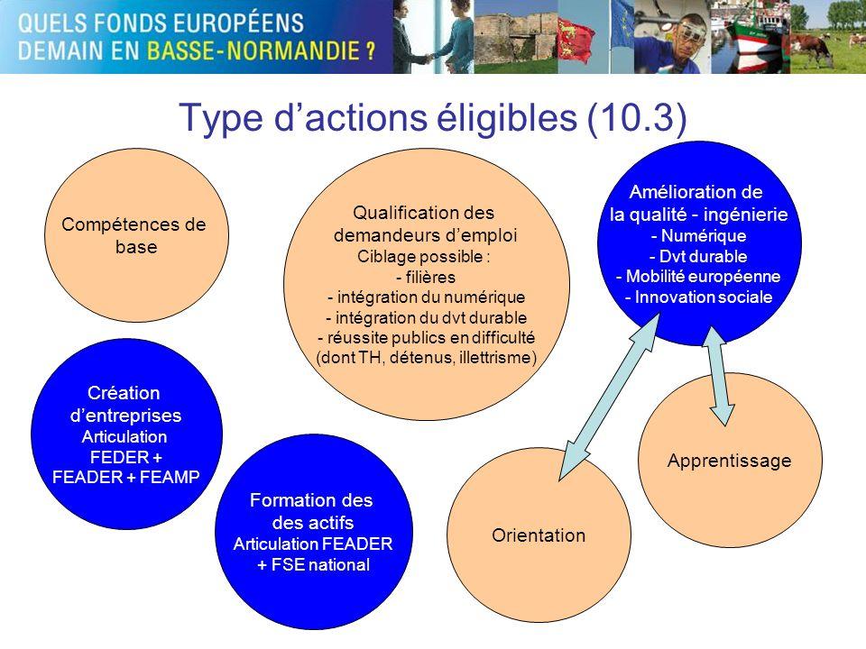 Type dactions éligibles (10.3) Qualification des demandeurs demploi Ciblage possible : - filières - intégration du numérique - intégration du dvt dura