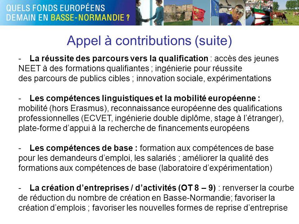 Appel à contributions (suite) -La réussite des parcours vers la qualification : accès des jeunes NEET à des formations qualifiantes ; ingénierie pour