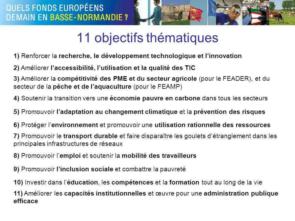 11 objectifs thématiques 1) Renforcer la recherche, le développement technologique et linnovation 2) Améliorer laccessibilité, lutilisation et la qual