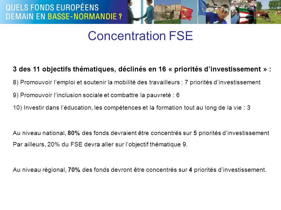 Concentration FSE 3 des 11 objectifs thématiques, déclinés en 16 « priorités dinvestissement » : 8) Promouvoir lemploi et soutenir la mobilité des tra