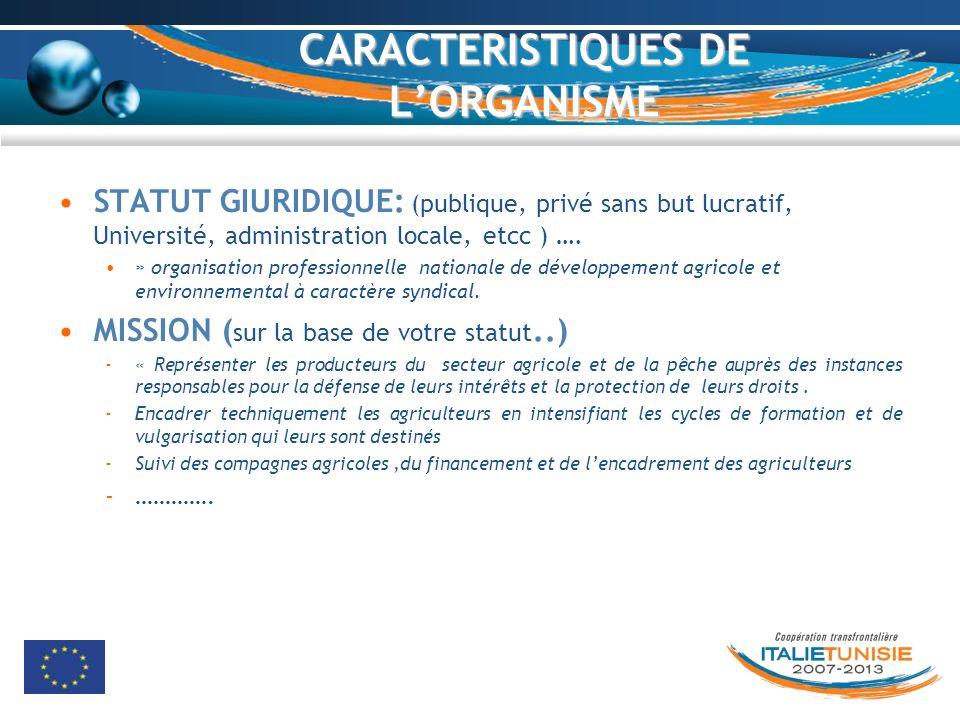 CARACTERISTIQUES DE LORGANISME STATUT GIURIDIQUE: (publique, privé sans but lucratif, Université, administration locale, etcc ) …. » organisation prof