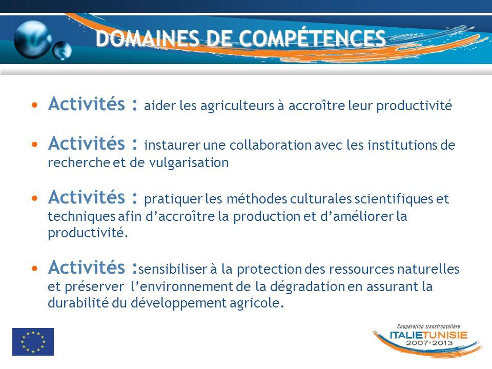 DOMAINES DE COMPÉTENCES Activités : aider les agriculteurs à accroître leur productivité Activités : instaurer une collaboration avec les institutions
