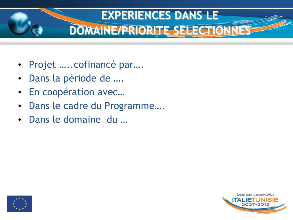 EXPERIENCES DANS LE DOMAINE/PRIORITE SELECTIONNES Projet …..cofinancé par…. Dans la période de …. En coopération avec… Dans le cadre du Programme…. Da