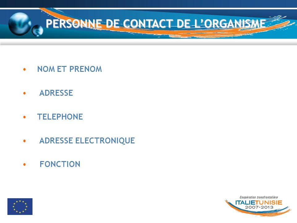 PERSONNE DE CONTACT DE LORGANISME NOM ET PRENOM ADRESSE TELEPHONE ADRESSE ELECTRONIQUE FONCTION
