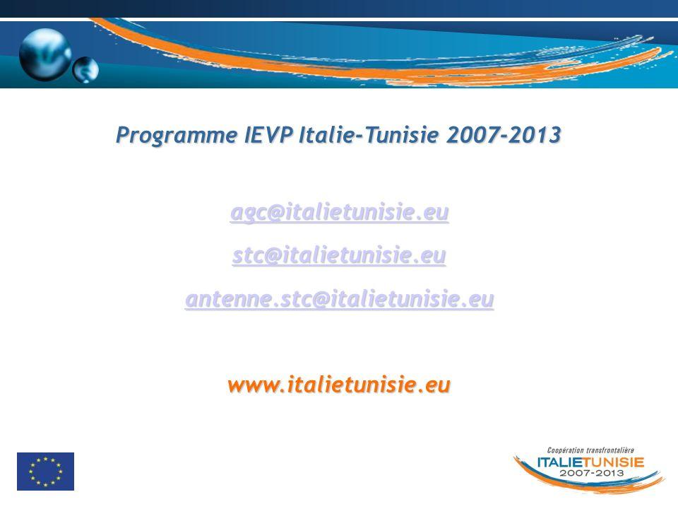 Programme IEVP Italie-Tunisie 2007-2013 agc@italietunisie.eu stc@italietunisie.eu antenne.stc@italietunisie.eu www.italietunisie.eu