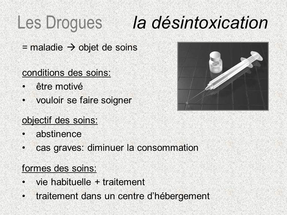 = maladie objet de soins conditions des soins: être motivé vouloir se faire soigner Les Drogues la désintoxication objectif des soins: abstinence cas