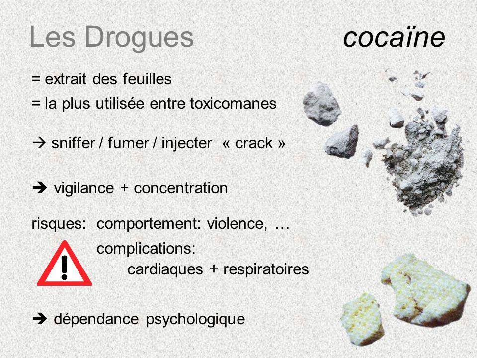 Les Drogues cocaïne = extrait des feuilles = la plus utilisée entre toxicomanes sniffer / fumer / injecter « crack » vigilance + concentration risques