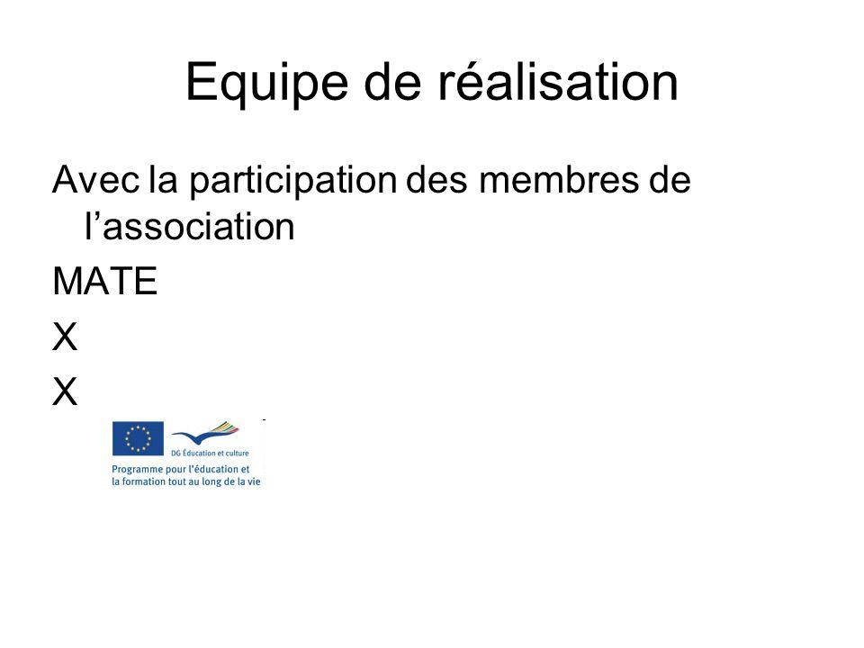 Equipe de réalisation Avec la participation des membres de lassociation MATE X