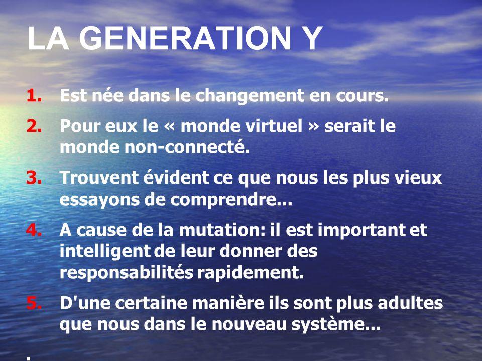 LA GENERATION Y 1.Est née dans le changement en cours. 2.Pour eux le « monde virtuel » serait le monde non-connecté. 3.Trouvent évident ce que nous le