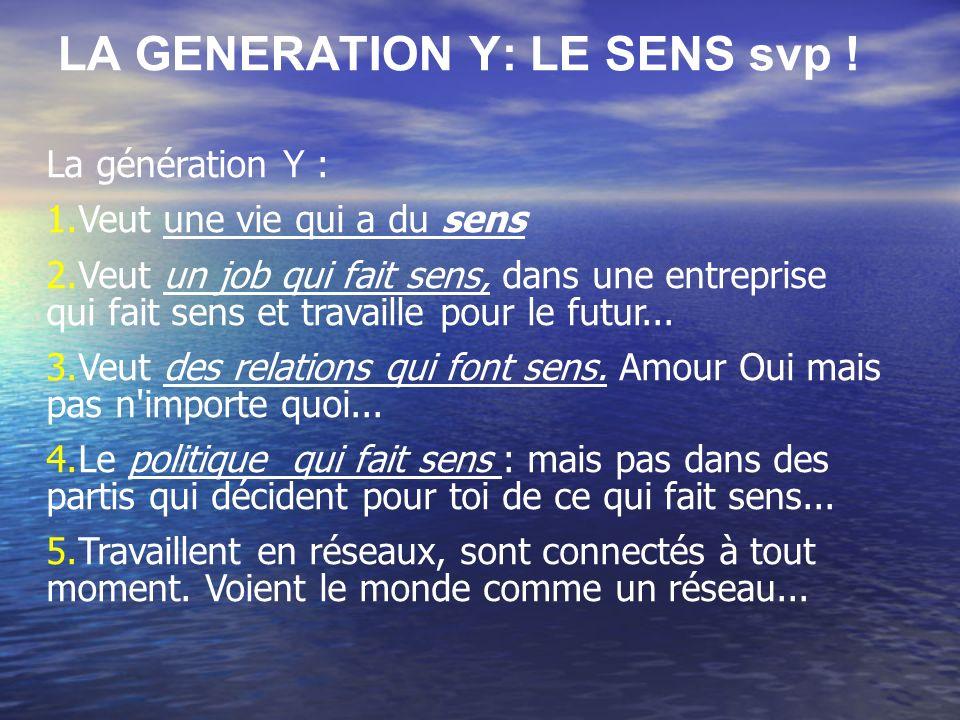 LA GENERATION Y: LE SENS svp ! La génération Y : 1.Veut une vie qui a du sens 2.Veut un job qui fait sens, dans une entreprise qui fait sens et travai