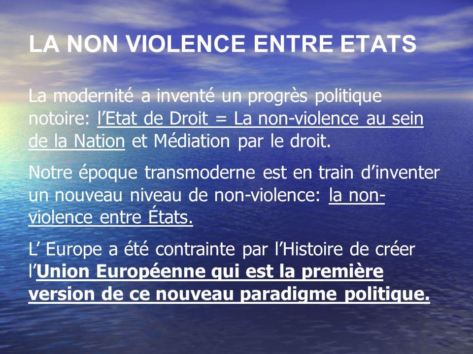 LA NON VIOLENCE ENTRE ETATS La modernité a inventé un progrès politique notoire: lEtat de Droit = La non-violence au sein de la Nation et Médiation pa